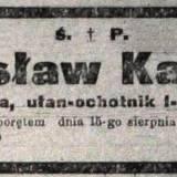 Kurier Warszawski. Nekrolog żołnierza 1 p. szwol.