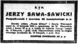 Nekrolog ppłk J. Sawy-Sawickiego.
