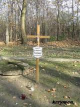 Grób żołnierza WP, którego szczątki odnaleziono i pogrzebano w 2006 r.